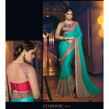 Sari indien violet et turquoise brodé de pierres et strass