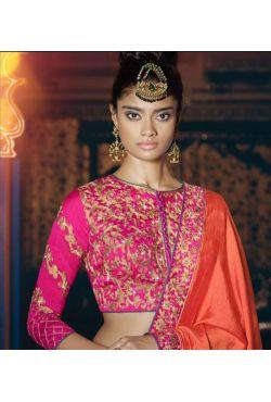 Sari indien prune et vert brodé de pierres et strass