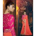 Sari indien rose et orange brodé de strass