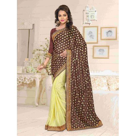 Sari indien marron doré