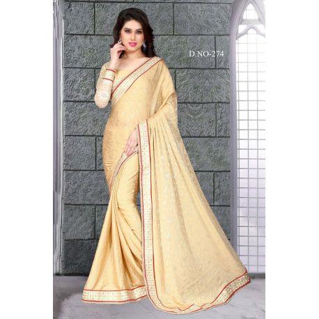 Sari robe indienne beige et doré