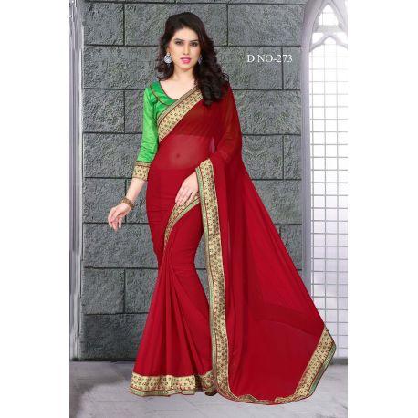 Sari indien rouge et vert