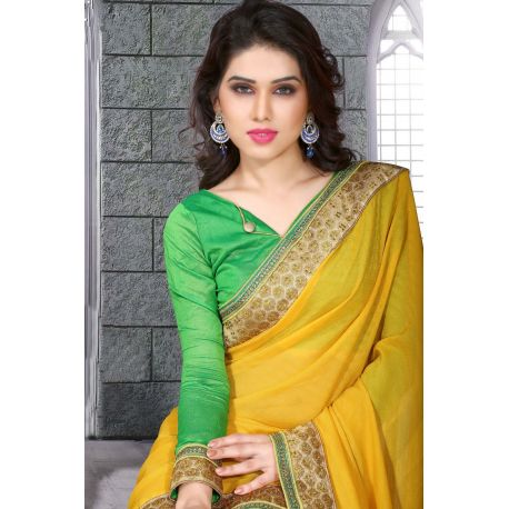 Sari indien vert et jaune brodé