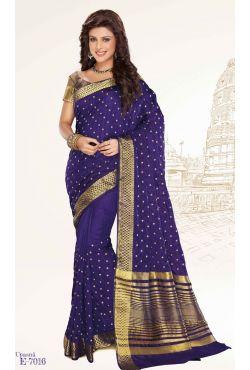 Sari indien bleu marine brodé de fil doré