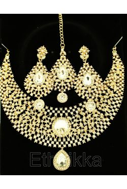 Parure indienne trois bijoux ethniques plaqué or