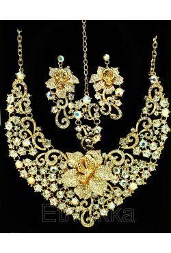 Bjoux indiens ethniques fleur plaqué or et strass