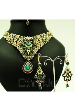 Bijoux indiens parure plaqué or rouge ou verte