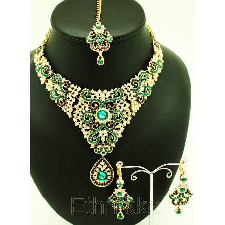 2e2b422ba Acheter bijoux indiens parure des deux pans en plaqué or avec des pierres  vertes et rouge