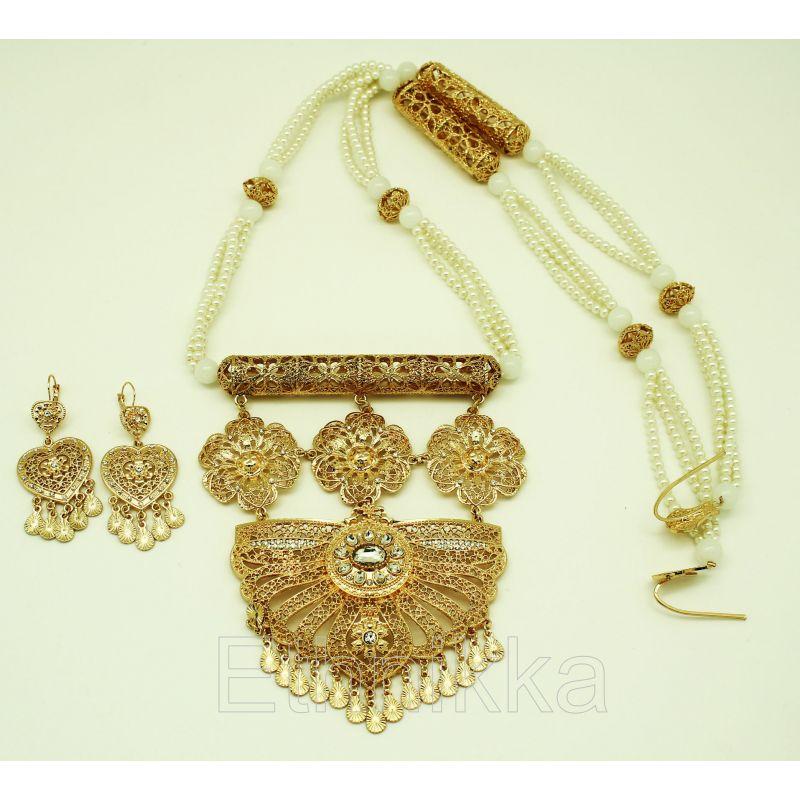 Bijoux orientaux parure perles plaqué or et pierre bcc2e37e3b20