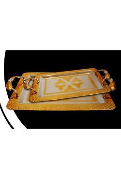 Plateaux dorés ou argentés en arabesque vendu par deux