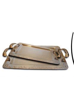 Plateau doré argenté en arabesque vendu par deux