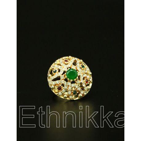 Bague Ottomane plaqué or pierres blanches