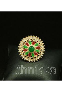 Bague oriental turque plaqué or pierres rouges et vertes