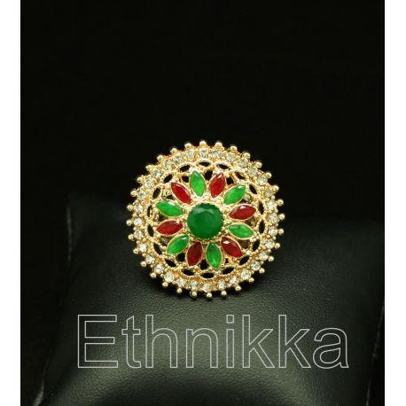 Bague orientale turque plaqué or pierres rouges et vertes