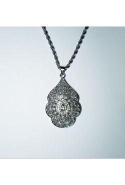 Collier sautoir et pendentif en argent plaqué