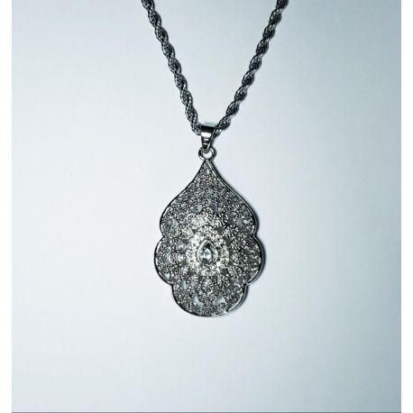 Collier sautoir et pendentif en argent plaqué corail et petits cristaux - bijou oriental
