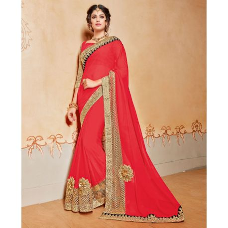Sari tenue indienne rouge et dorée