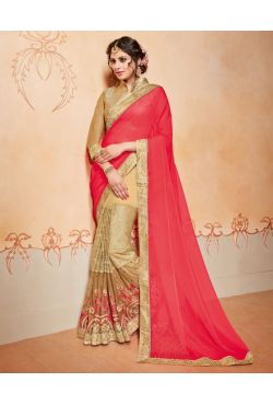 Robe indienne beige et rose