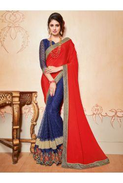 Sari indien rouge et bleu brodé de pierres et strass