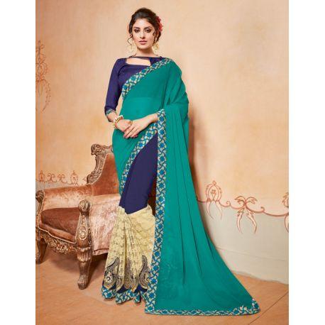 Sari indien turquoise et bleu brodé au fil doré