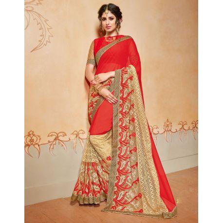 Saree indien rouge et doré