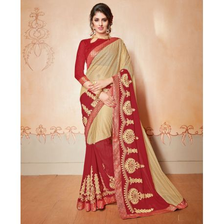 Sari indien bordeaux et doré brodé de strass