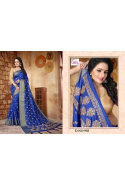 Sari indien bleu brodé de perles