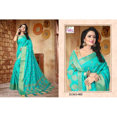 Sari indien turquoise doré