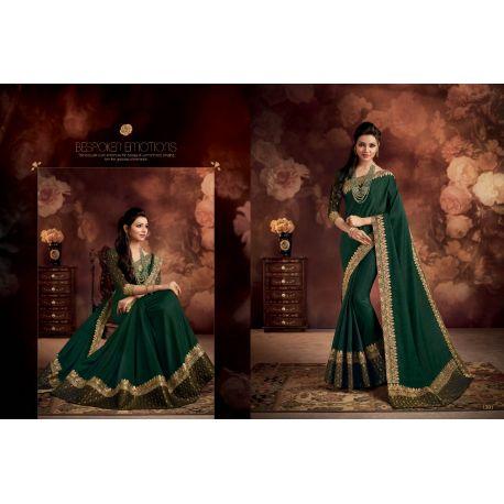 Sari tenue indienne verte et dorée