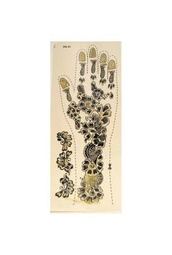 Pochoirs sticker pour tatouage dorés pour les mains sous forme de fleurs