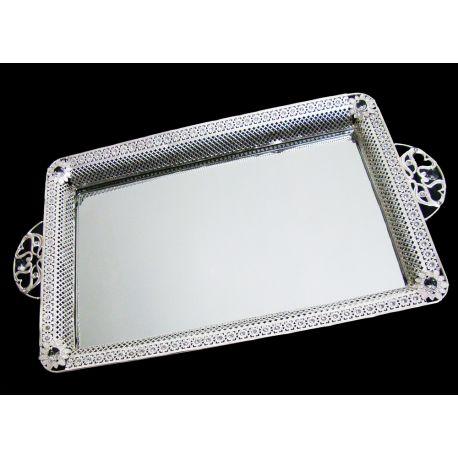 plateaux miroirs argentés aux motifs de fleur vendu par deux
