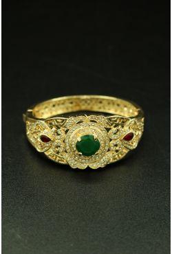 Bracelet harim sultan de Turquie plaqué or et pierres de couleurs