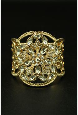 Bracelet oriental quatres fleurs plaqué or traditionnel