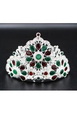 couronne orientale argenté sertis de pierres rouges et vertes