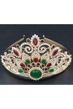 Couronne en or plaqué bijoux de tête sertis de pierres