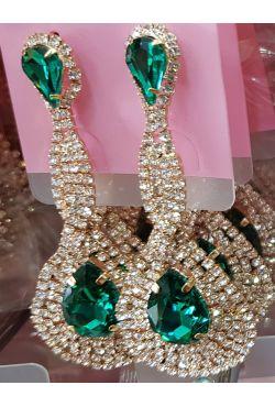 Boucles d'oreilles pendantes plaqué or pierre verte