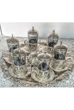 Service à thé oriental verres et sucrière