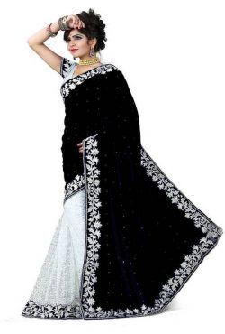 Sari violet et turquoise robe indienne