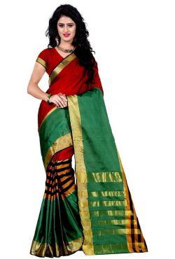 Tenue indienne vert rouge en mousseline de soie brodé de fleurs en perles