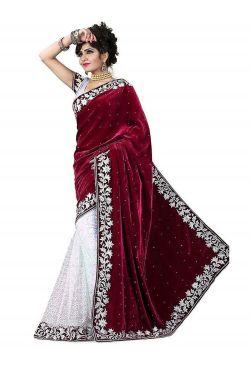Sari indien rouge bordeaux brodé de strass