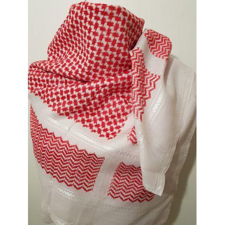 Keffieh arafat rouge et blanc