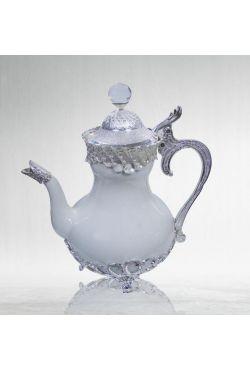 Théière en porcelaine orientale blanche argenté