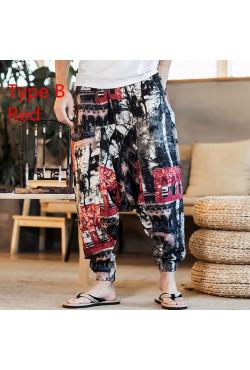 Pantalon Baggy en coton et lin pour homme et femme, sarouel, style Hip hop, jambes larges, Vintage, Long, 2021