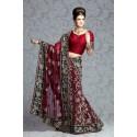 Robe indienne lehenga de mariée rouge brodée à la main