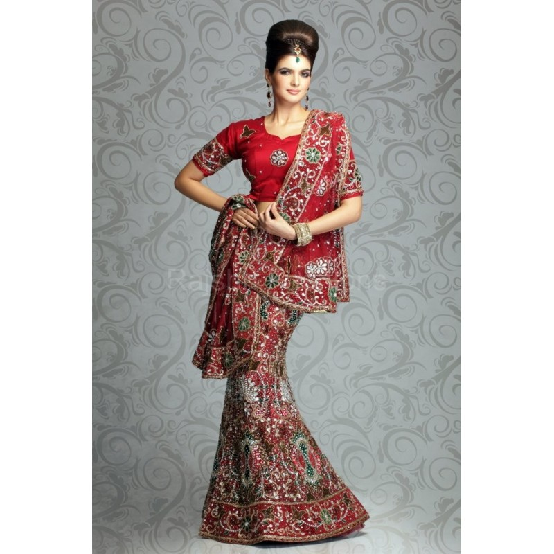robe indienne lehenga rouge en broderie compl te. Black Bedroom Furniture Sets. Home Design Ideas