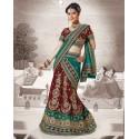 Robe indienne verte et rouge bordeaux en broderies compléte