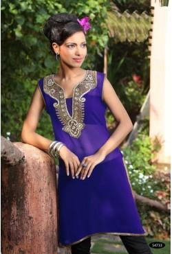 Tunique orientale bleue brodée