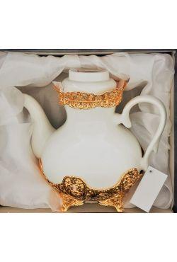Théière porcelaine blanche dorée