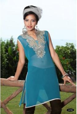 Tunique orientale bleu turquoise brodée