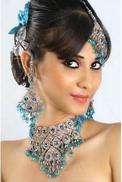 Bijoux indiens parure bleue